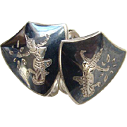 Siam Sterling Screw Back Earrings Shield Shape Black Niello Enamel Mekkala Dancer Lightning Goddess Silver Jewelry