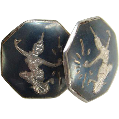 Siam Sterling Screw Back Earrings Hexagon Shape Black Niello Enamel Marked Mekkala Dancer Lightning Goddess Silver Jewelry