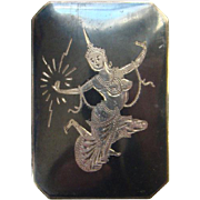 Siam Sterling Pin Brooch Rectangular Mekkala Lightning Goddess Dancer Black Niello Enamel Silver Jewelry