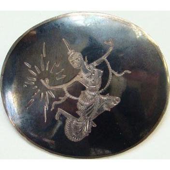 Siam Sterling Oval Pin Black Niello Enamel Mekkala Dancer Lightning Goddess Silver Jewelry