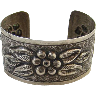 Old Arts and Crafts Movement Era Cuff Bracelet Sterling Silver Repousse Floral Design