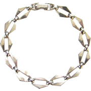 Vintage Sterling Silver wRe Link Bracelet Geometric Abstract W E Richards