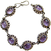 Old Made in India Amethyst Sterling Silver Link Bracelet Boho Bohemian Ethnic Jewelry