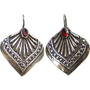Old Sterling Silver Garnet Color Stone Pierced Earrings India Ethnic Jewelry Boho Bohemian Chic