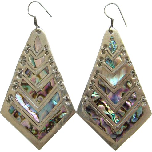 Vintage Mexico Alpaca and Abalone Large Size Hinged Dangle Pierced Earrings