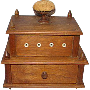 Old Shaker Wood Thread Caddy Spool Holder with Drawer Pin Cushion Sewing Accessory