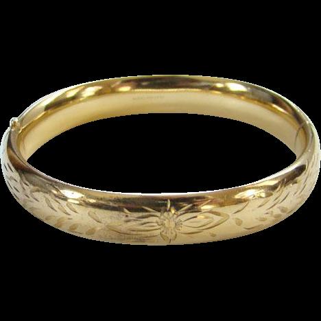 Vintage Russel Gold Filled Hinged Bangle Bracelet Etched Floral Design 1/20 12K GF Signed
