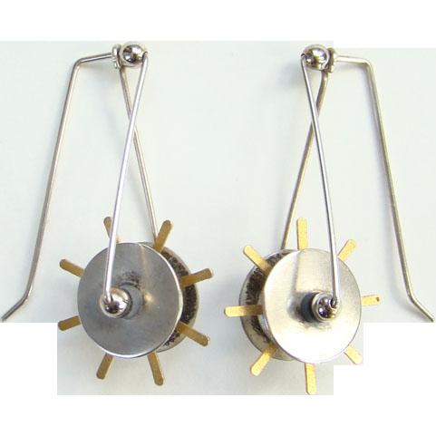 Vintage Artisan Modernist Pierced Earrings Mixed Metals Sterling Silver 10K Gold