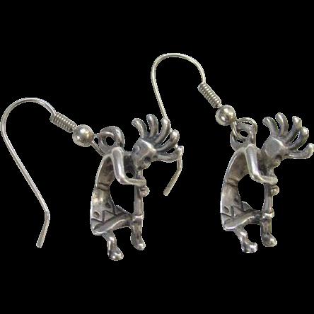 Zuni Sterling Silver Kokopelli Flute Player Pierced Earrings Native American