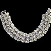 Vintage Clear Ice Rhinestone Three Row Wide Link Bracelet Prong Set Stones