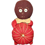 Sewing Pin Cushion Novelty Black Cloth Doll Holding Red Tomato Vintage Sewing Accessory