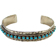 Zuni Turquoise Snake Eye Row Cuff Bracelet JP Ukestine Stamp Decorated Native American Indian Jewelry
