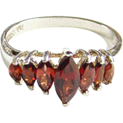 Art Deco Style 10K Gold and Seven Garnet Ring Cathedral Setting Size 10 Signed