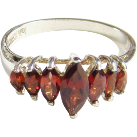 Art Deco 10K White Gold and Garnet Ring Size 10 C1920s Signed