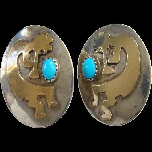 Southwestern Kokopelli Pierced Earrings Turquoise Sterling Silver 12K Gold Filled Spirit of Music