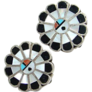 Zuni Inlay Sun God Sterling Silver Clip Earrings Onyx Mother of Pearl Turquoise Spiny Oyster