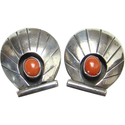 Southwestern Tribal Coral Sterling Silver Clip Earrings Shadowbox Shell Design Indian Jewelry