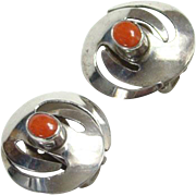 Southwestern Style Sterling Silver Coral Clip Earrings Indian Jewelry