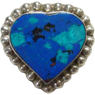 Taxco Mexico Sterling Silver Azurite Malachite Heart Shape Brooch Pin Mexican Jewelry