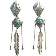 Vintage Navajo Turquoise Pierced Earrings Sterling Silver Feather Dangles