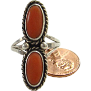 Vintage Navajo Double Coral Ring Sterling Silver Size 9 Native American