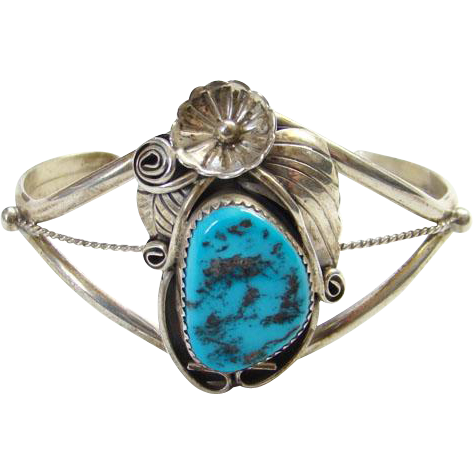 Vintage Native American Navajo Style Cuff Bracelet Turquoise Nugget Sterling Silver Signed P