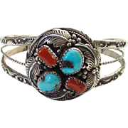 Navajo Style 1970s Turquoise Red Coral Sterling Cuff Bracelet Stamp Decoration Beautiful