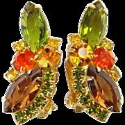 Juliana Rhinestone Clip Earrings Watermelon Amber Green Topaz Verified DeLizza Elster