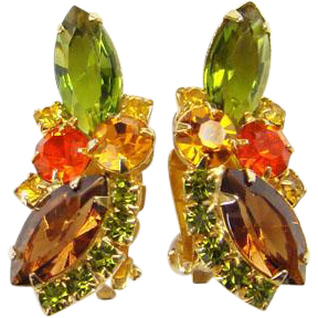 Juliana Rhinestone Clip Earrings Watermelon Amber Green Topaz Verified DeLizza Elster