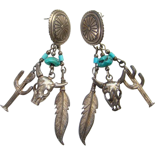 Southwestern Theme Concho Pierced Turquoise Sterling Silver Dangle Earrings Feather Cattle Cactus