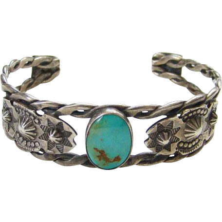 Vintage Navajo Style Cuff Bracelet Turquoise Sterling Silver Punch Stamp Decoration