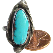 Native American Turquoise Ring Size 6.25 Signed N Sterling Silver Southwestern Indian Jewelry