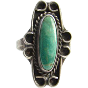 Green Turquoise Ring Size 8.25 Sterling Silver Southwestern Tribal Jewelry