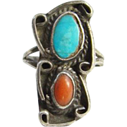 Navajo Style Ring Turquoise Coral Sterling Silver Size 7.75 Native American