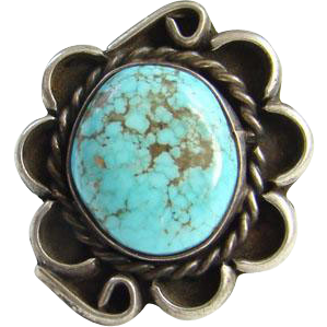 Navajo Style Turquoise Ring Beautiful Matrix Sterling Silver Size 6.5