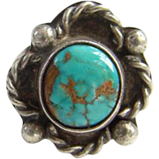 Southwestern Navajo Style Turquoise Ring Sterling Silver Size 7.75 Native American Pilot Mountain Mine