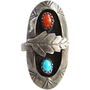 Southwestern Turquoise Coral Shadow Box Ring Size 5.5 Sterling Silver Signed N Native American