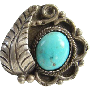Navajo Style Turquoise Sterling Silver Pinky Ring Small Size 4.25 Native American Indian Jewelry