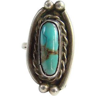 Southwestern Native American Navajo Style Turquoise Ring Sterling Silver Size 5.5 Indian Jewelry