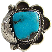 Navajo Style Turquoise Ring Signed MC Gorgeous Stone Size 7 Sterling Silver Native American Indian Jewelry
