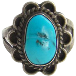 Turquoise Ring Navajo Style Sterling Silver Size 7.25 Southwestern Indian Jewelry