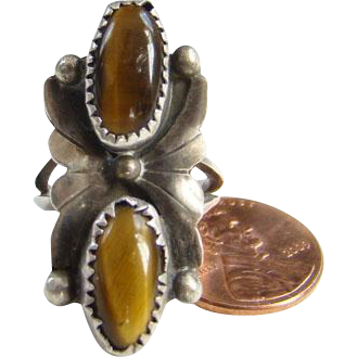 Native American Style Tigers Eye Sterling Silver Ring Double Stone Size 6 Indian Jewelry