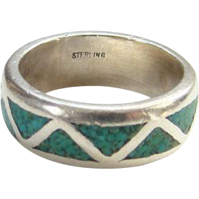 Native American Turquoise Chip Sterling Inlay Ring Size 6.5 Signed Sterling