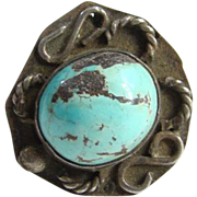 Southwestern Navajo Style Turquoise Ring Sterling Silver Size 6 Native American Indian Jewelry Rustic