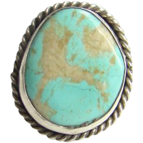 Turquoise Sterling Silver Ring Size 5.25 Navajo Style Seafoam Green Stone Southwestern Indian Jewelry