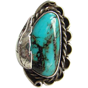 Navajo Style Sterling Silver Turquoise Ring Size 6.75 Southwestern Native American Indian Jewelry