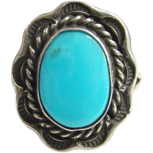 Southwestern Turquoise Ring Navajo Style Sterling Silver Size 6 Native American Indian Jewelry