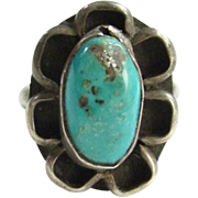 Navajo Style Green Turquoise Ring Size 6.75 Southwestern Native American Indian Jewelry Boho Chic