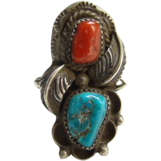 Southwestern Red Coral Turquoise Ring Navajo Sterling Silver Signed JF Size 5.5 Indian Jewelry