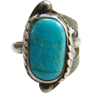 Turquoise Ring Southwestern Sterling Silver Size 7.5 Two Feathers Raindrops Navajo Style Indian Jewelry